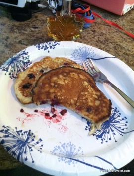 Blackberry pancakes yum!