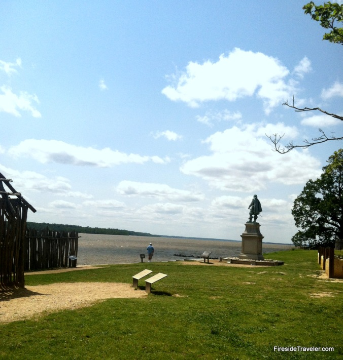 Statue of Captain John Smith overlooking James River Virginia